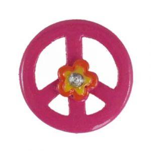 Pink Peace Sign Daisy Flatback Resin Embellishment