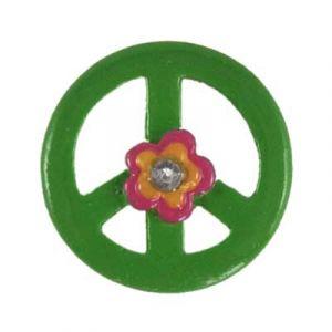 Green Peace Sign Daisy Flatback Resin Embellishment