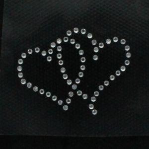 Hotfix Rhinestone Iron On Motif Double Hearts - Black